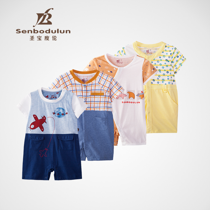 San po lun degree clams climbing clothes baby short sleeve leotard male children's clothing cotton newborn clothes 2016 summer new