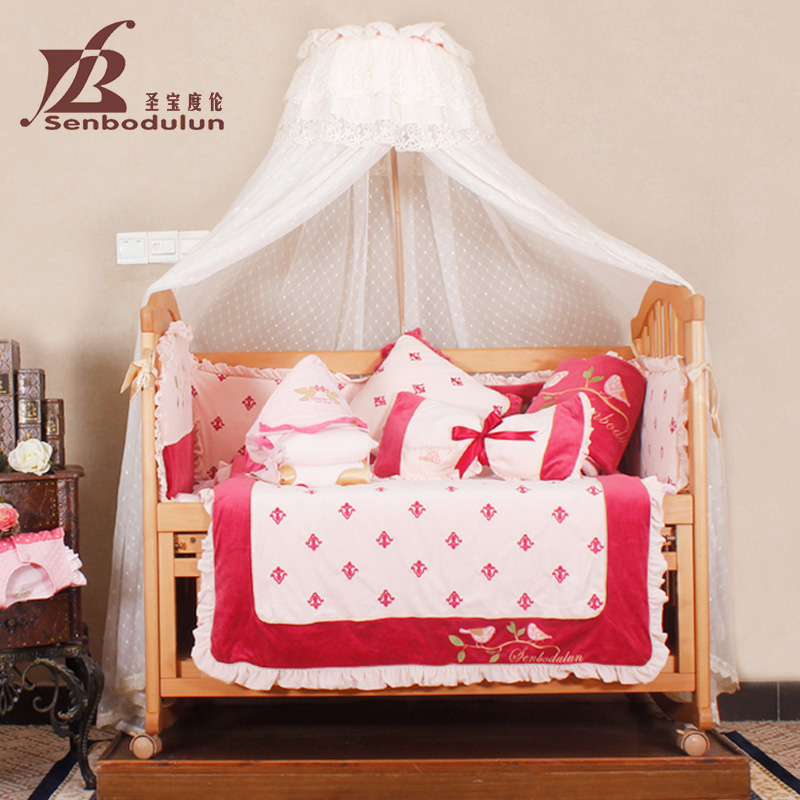 San po lun degree crib product suite baby bedding bed around eight sets of newborn infants and young children is baby quilt