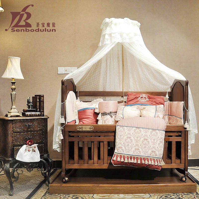 San po lun degree infant newborn baby bed bed continental bed wood bed bb multifunction cradle crib bed genuine