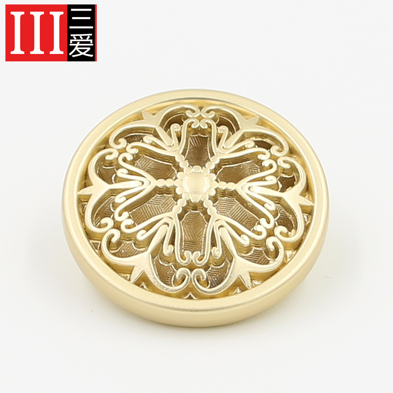 Sanai accessories grade metal buttons monopoly fashion boutique buckle gold openwork flowers buttons 18mm 25mm