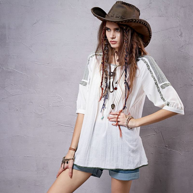 Sang kee mad a type of embroidery stitching sleeve cotton shirt female 2016 spring and summer SA1425 7x