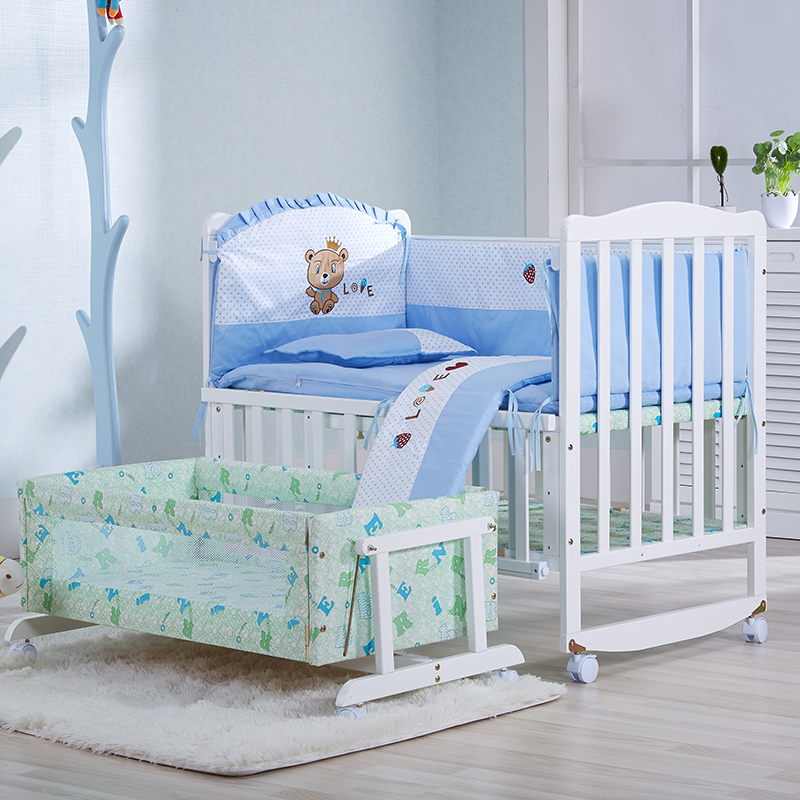 Sanle environmental white multifunction wood crib baby bed cradle bed nets to send bb bed continental paint