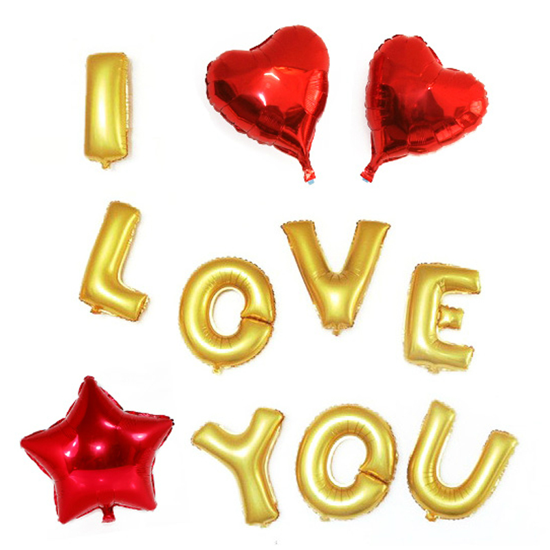 Sansei red string wedding supplies decorative english letters aluminum balloons birthday party courtship hearts stars