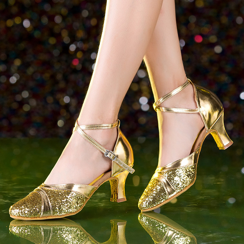 Satesaiwei adult female latin dance shoes in high heels dancing shoes ballroom dancing shoes dance shoes square dancing shoes soft bottom