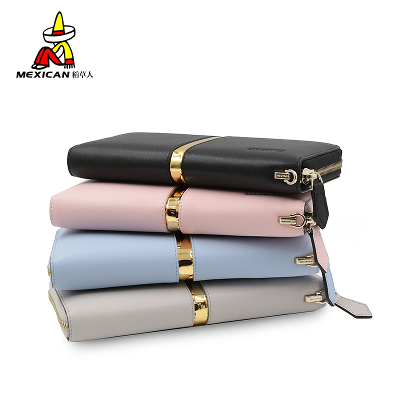 Scarecrow ms. wallet long section of genuine leather wallet zipper european and american fashion hand bag bills folder multifunction