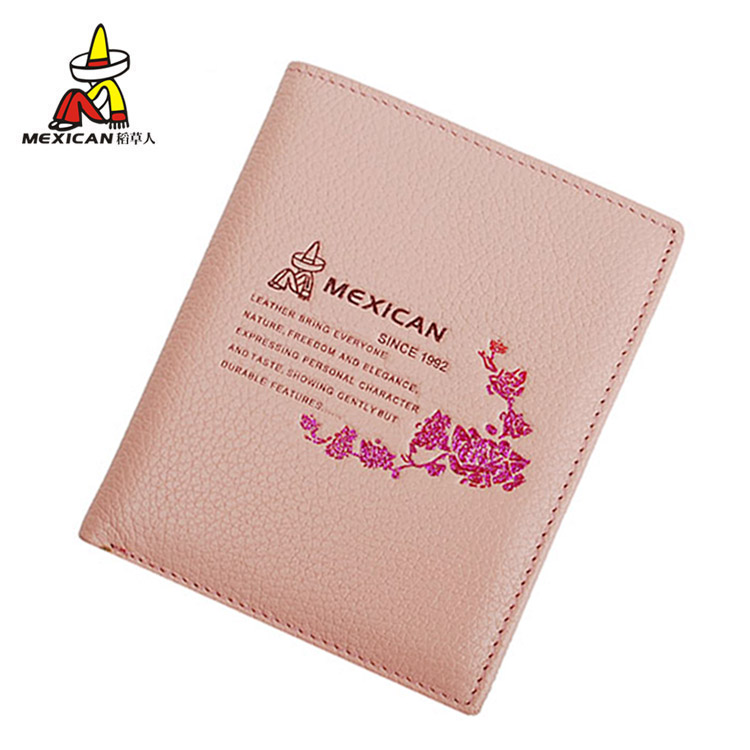 Scarecrow wallet female short paragraph wallet cowhide leather wallet wallet authentic korean version of the influx of women thin section pink