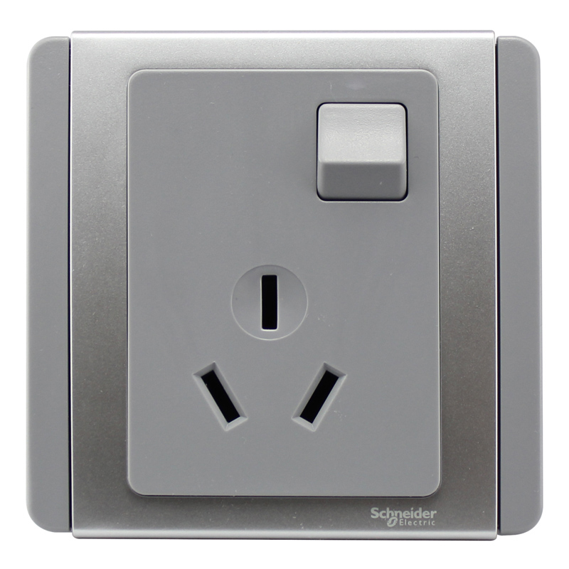Schneider switch socket e3000 series will be an open with a switch with three holes 10a 86 type panel silver