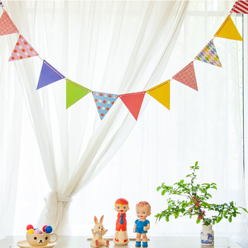 School children triangle flag bunting paper bunting birthday party festive decorations wedding paper colorful polka dot love