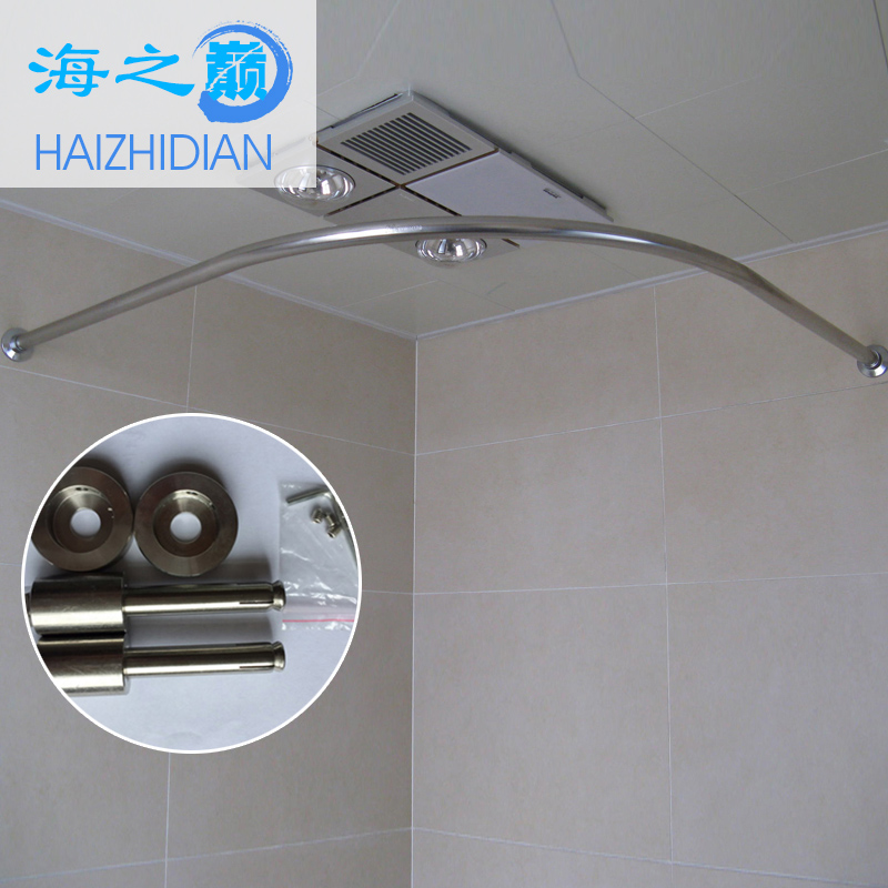 Sea summit thick 304 stainless steel curved shower curtain bathroom shower curtain rod curtain rod sets of equipment to send tile hole saw Is