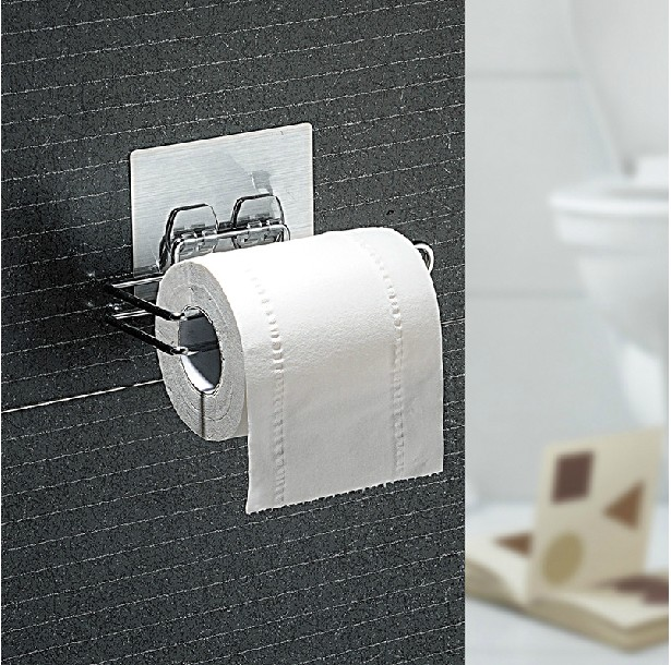 Seamless double celebration sucker stickers affixed creative toilet roll holder kitchen towel rack bathroom toilet paper holder toilet paper toilet paper holder