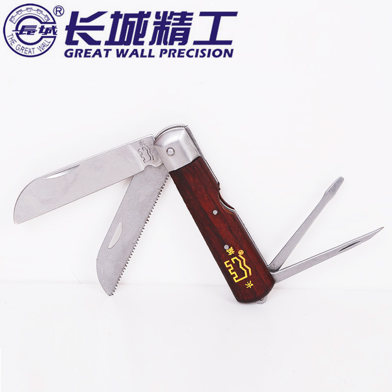 Seiko wall multifunction electrician knife with wooden handle electrician electrical tools strippers stripping knife scissors stainless steel paring knife