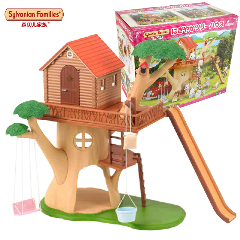 Semipkg children sylvanian family happy tree hut 28828 girls play house simulation toys for children