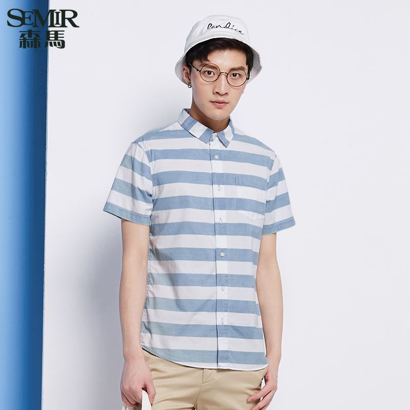 Semir 2016 summer new men's short sleeve shirt striped cotton straight men washed denim short sleeve shirt south korea