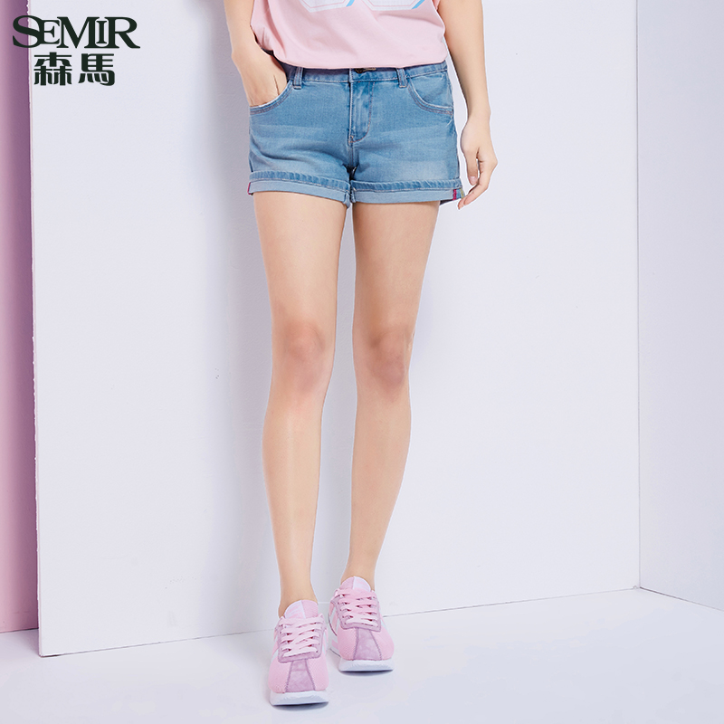 Semir 2016 summer new ms. low waist washed jeans stretch pants loose denim shorts korean tidal
