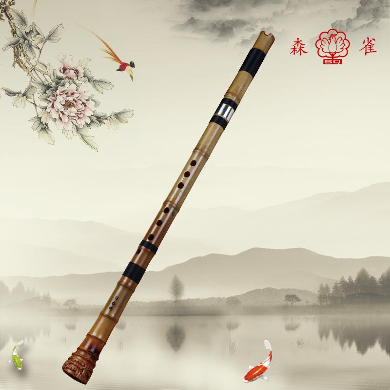 Sen bird genuine section ii eight holes to play professional black bamboo flute playing professional flute factory direct shipping
