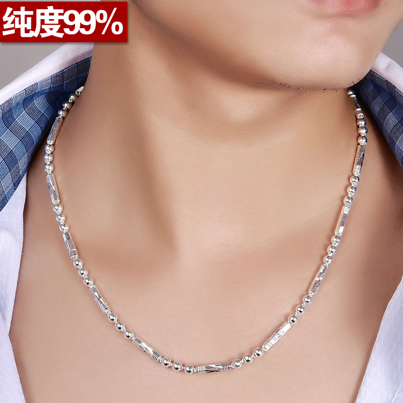[Send] certificate s990 sterling silver necklace men domineering personality influx of people to the hexagon bead chain sterling silver necklaces for men