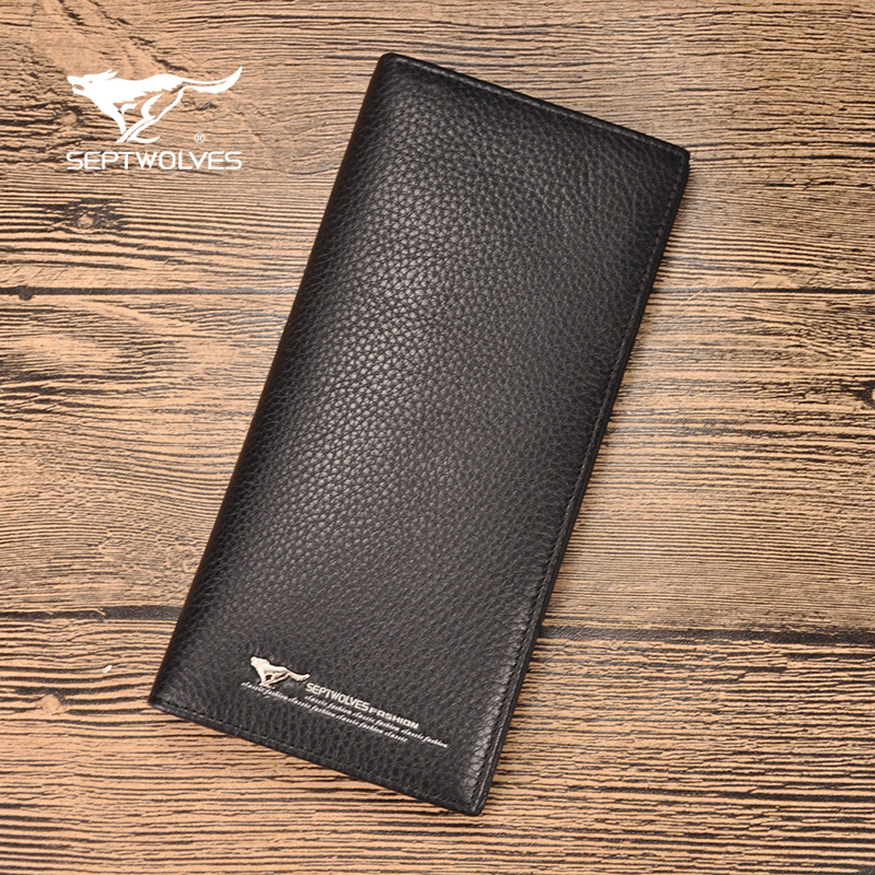 Septwolves/seven wolves new seven wolves wallet men's leather long paragraph money header layer of leather