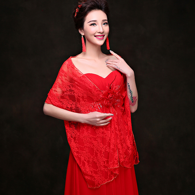 Serene edge new spring and summer long lace shawl fat bride wedding dress red wedding dress draped shoulder shawl thin