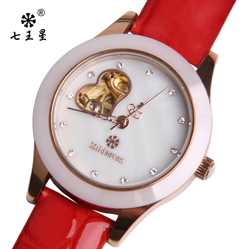 Seven wangxing shaped hollow automatic mechanical watches brand watches ladies watch fashion waterproof watch ceramic grade