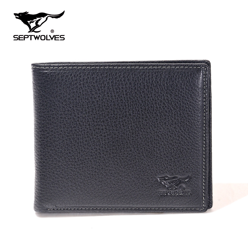 Seven wolves genuine leather wallet cross section male men's real leather slim wallet purse business wallet genuine