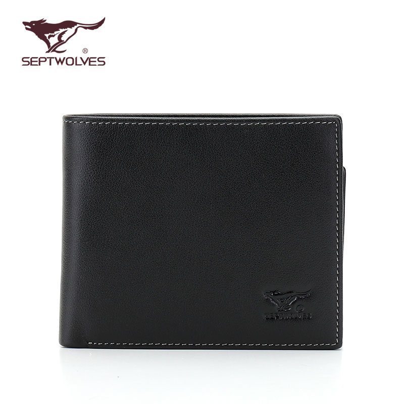 Seven wolves genuine leather wallet men first layer of leather men's wallet pure leather man bag with leather driver's license driving license wallet
