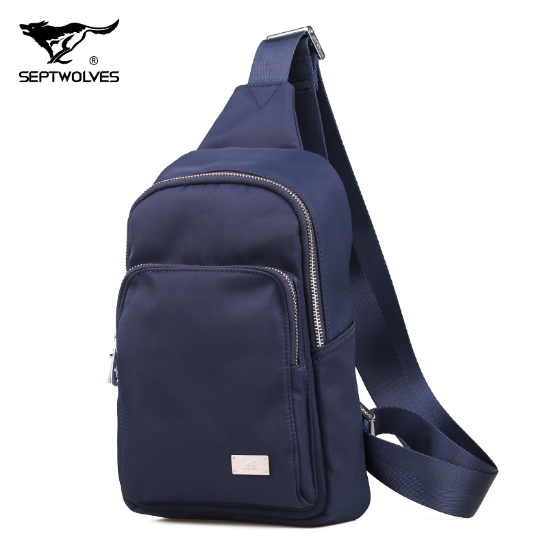 Seven wolves men's chest pack male leisure wild men canvas backpack new authentic fashion small bag shoulder messenger bag men with disabilities