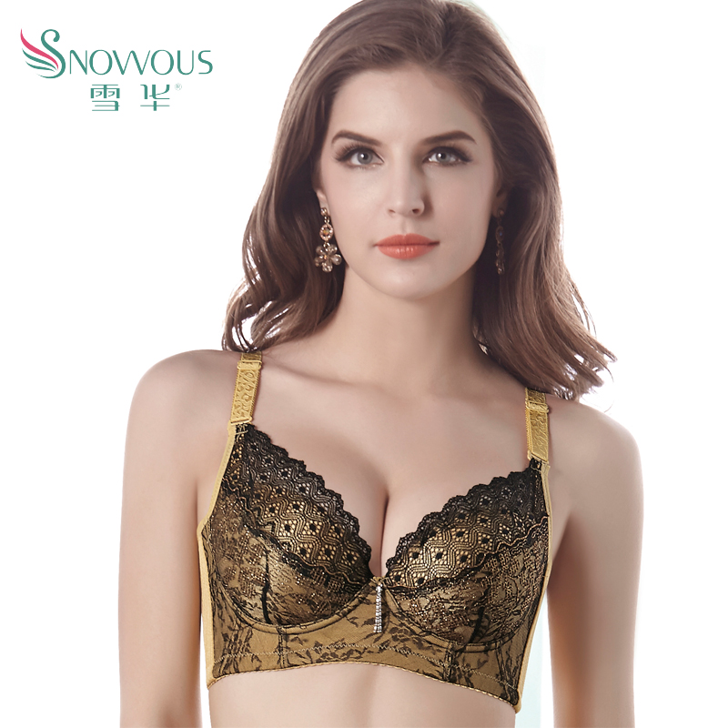 1dda15890aa34 Get Quotations · Severin adjustable lace bra gather four breasted female  underwear can be inserted pad insert pad to