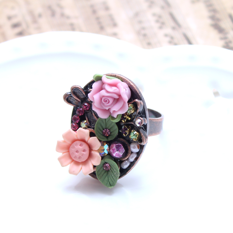 Sge palace retro dragonfly daisy flowers leaves beautiful handmade polymer clay ring opening ring finger ring with jewelry