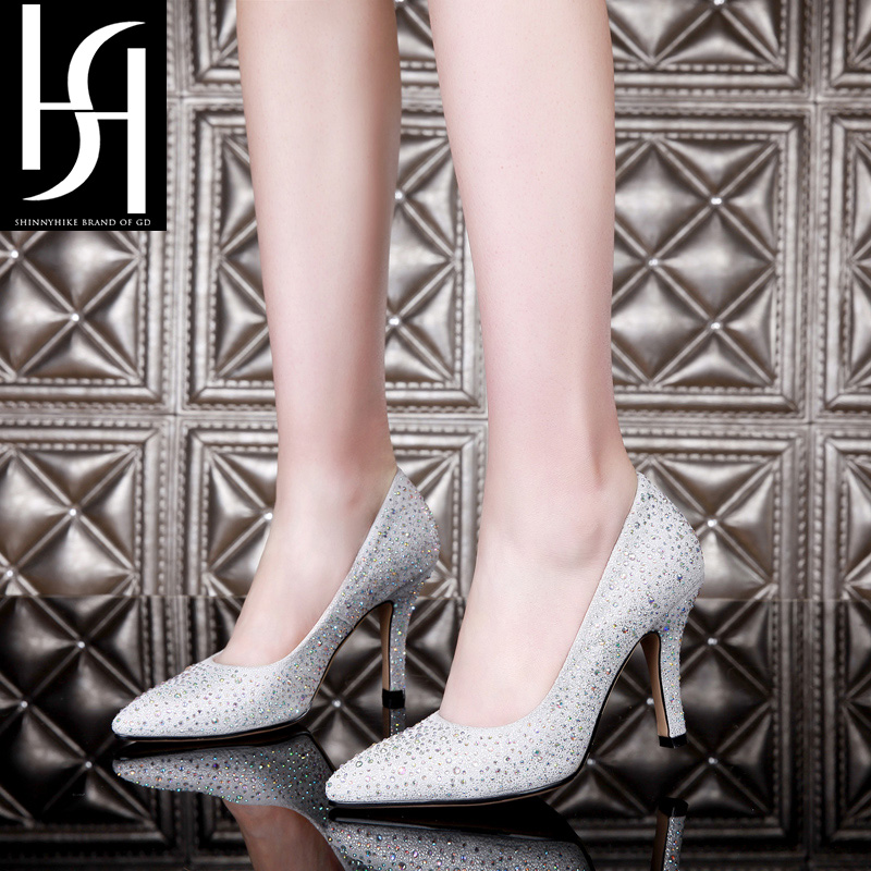 'Sh' gold banquet diamond shallow mouth pointed shoes women high heels shoes women summer korean version of the leather H23Y