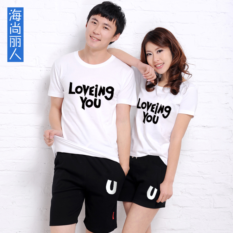 Shang hai beauty 2016 korean version of the letter i love you couple sets summer sports and leisure short sleeve t-shirts for men and women tide