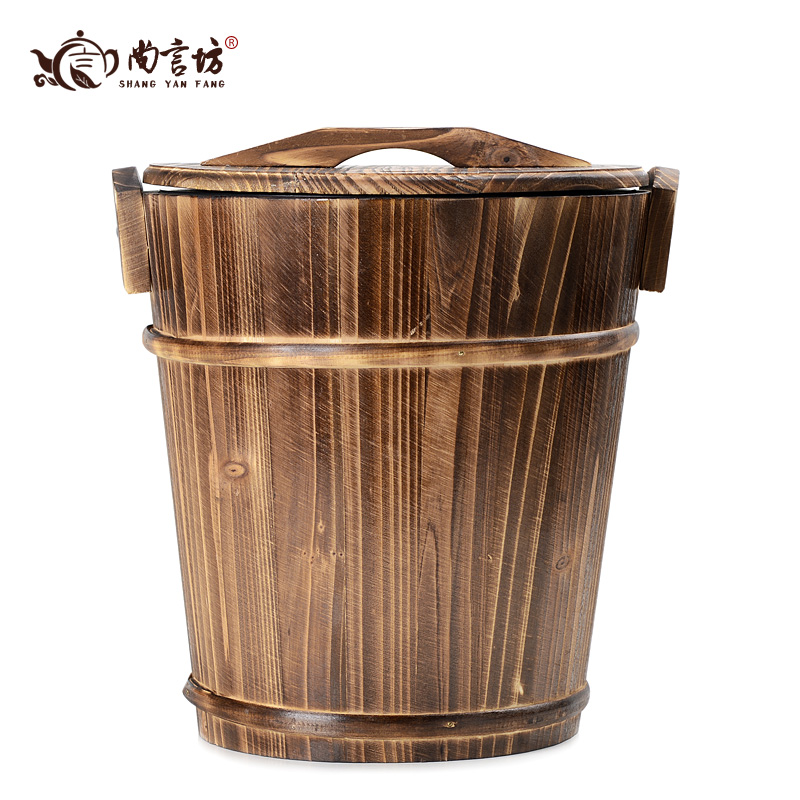 Shang yan fang kung fu tea accessories tea ceremony with zero tea tray wood tea waste bucket bucket bucket detong tea leaves