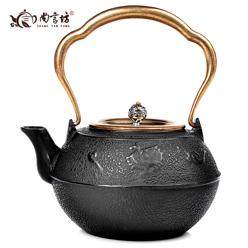 Shang yan fang tea tea kettle boils cast iron pot cast iron pot copper to copper lid 1.2l suzaku