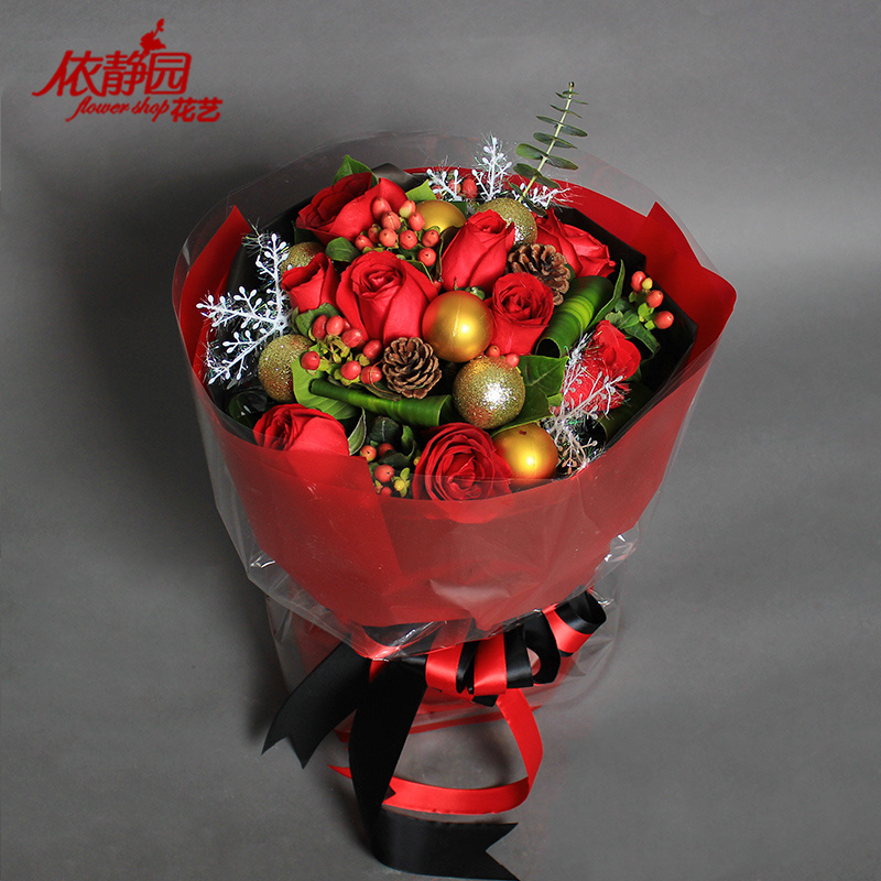 Shanghai and zhejiang nanjing christmas money mixed bouquet of red roses flowers tanabata valentine's day gift of flowers flower delivery nationwide