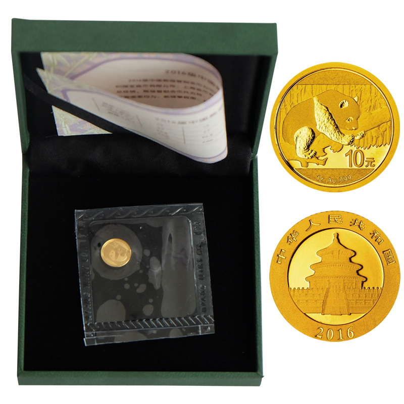 Shanghai jicang panda commemorative gold and silver coins in 2016. panda gold coin 1 grams. containing total original green box