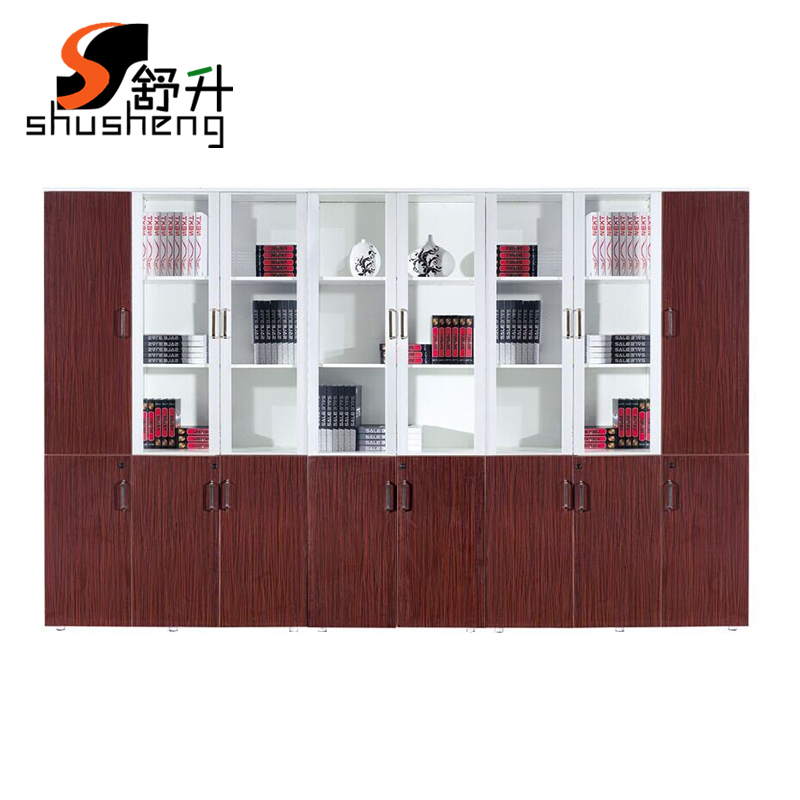 Shanghai office furniture wooden file cabinet office cabinet lockable file cabinet file cabinet glass door bookcase