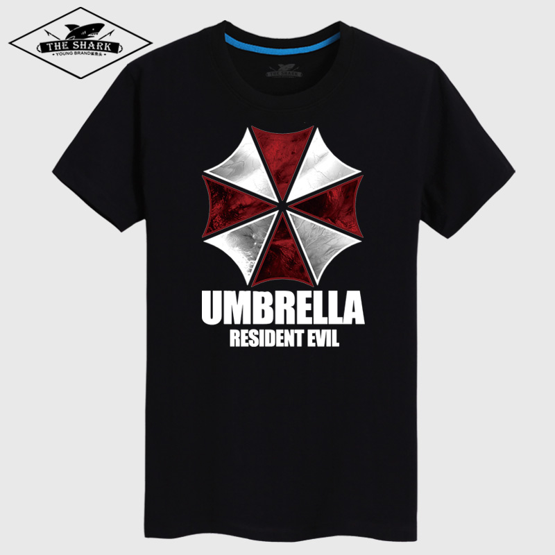 Sharks head umbrella resident evil t-shirt men tide brand in europe and america loose short sleeve summer compassionate fertilizer to increase yards wide