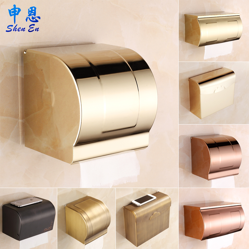 Shen en golden stainless steel bathroom toilet paper box tissue box antique european gold rose gold bathroom toilet paper box