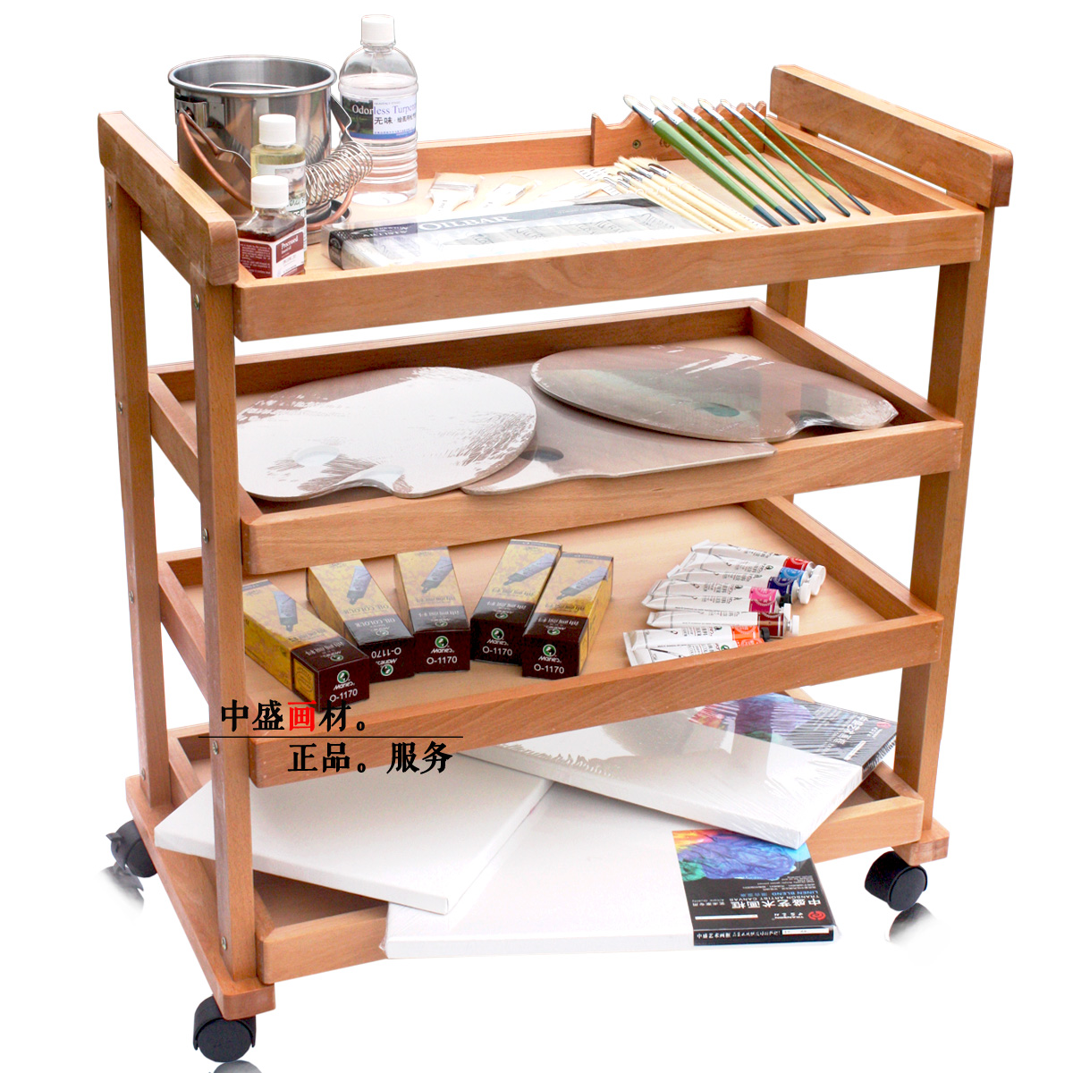Sheng painted wood painting car painting red beech caster four layers desk cabinets painted oil painting frame art supplies