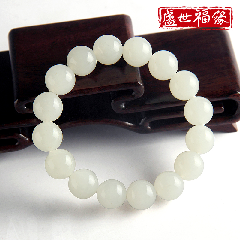 Sheng shifu edge male models suet jade and nephrite jade bracelet beads lap beads hand string of natural jade loose beads