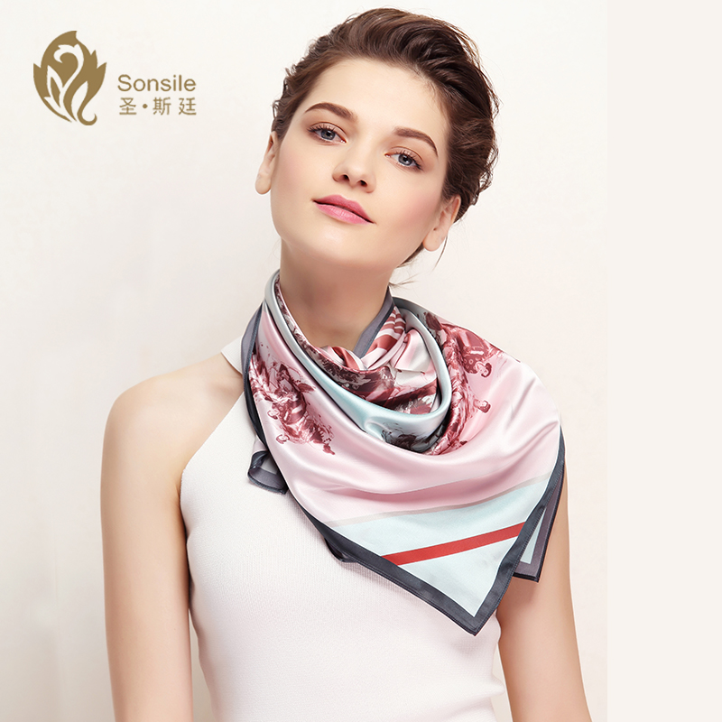 Sheng siting ms. retro quartet thin pearl silk scarf large square scarf spring and summer sunscreen shawl dual gift box