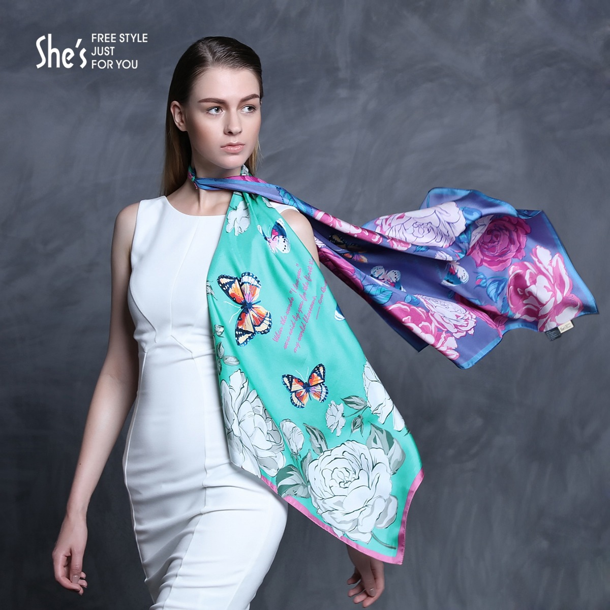 Shes sin child accessorise beautiful flowers printed silk scarves small square silk scarf female spring and summer
