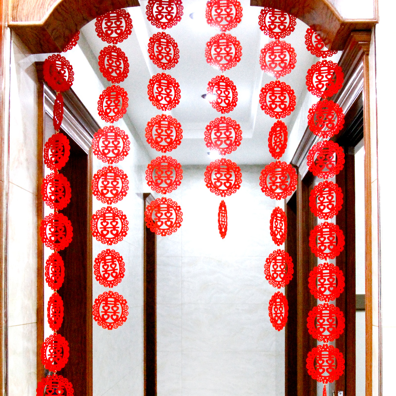 Shi cai chinese new year decorative props wedding marriage room layout creative personality wovens garland round hi door curtain curtain hangings