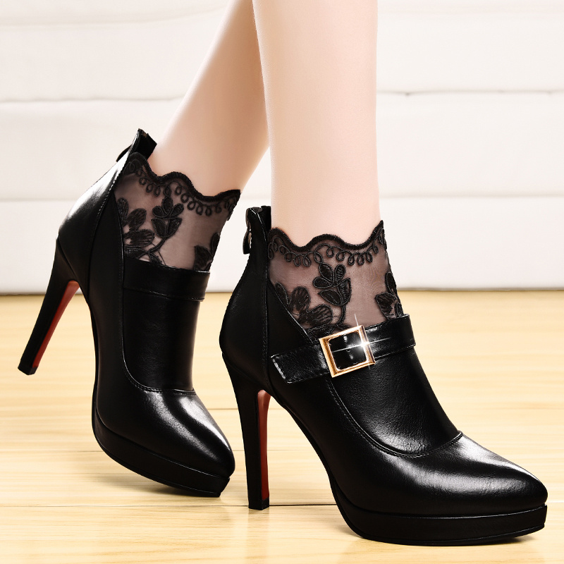 Shield fox 2016 new fall deep mouth pointed waterproof shoes women fine with sexy high with women shoes tide shoes