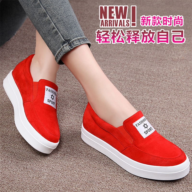 Shield fox 2016 spring new carrefour shoes women shoes thick crust muffin student flat shoes casual shoes shoes korean female tide