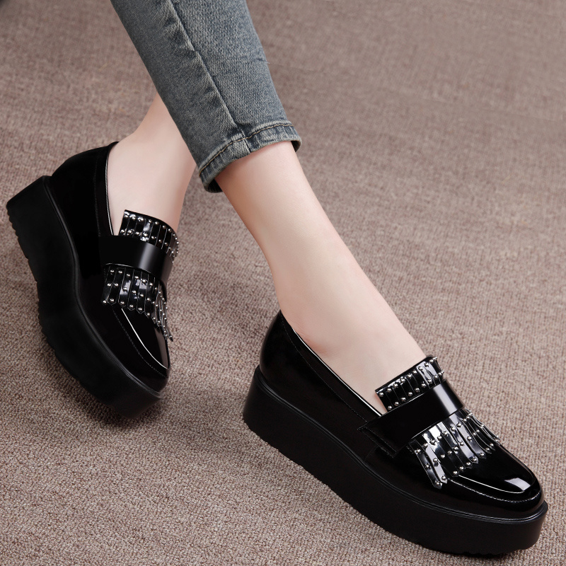 Shield fox 2016 spring new single shoes women shoes loafers flat shoes korean version of casual shoes lazy thick crust muffin shoes