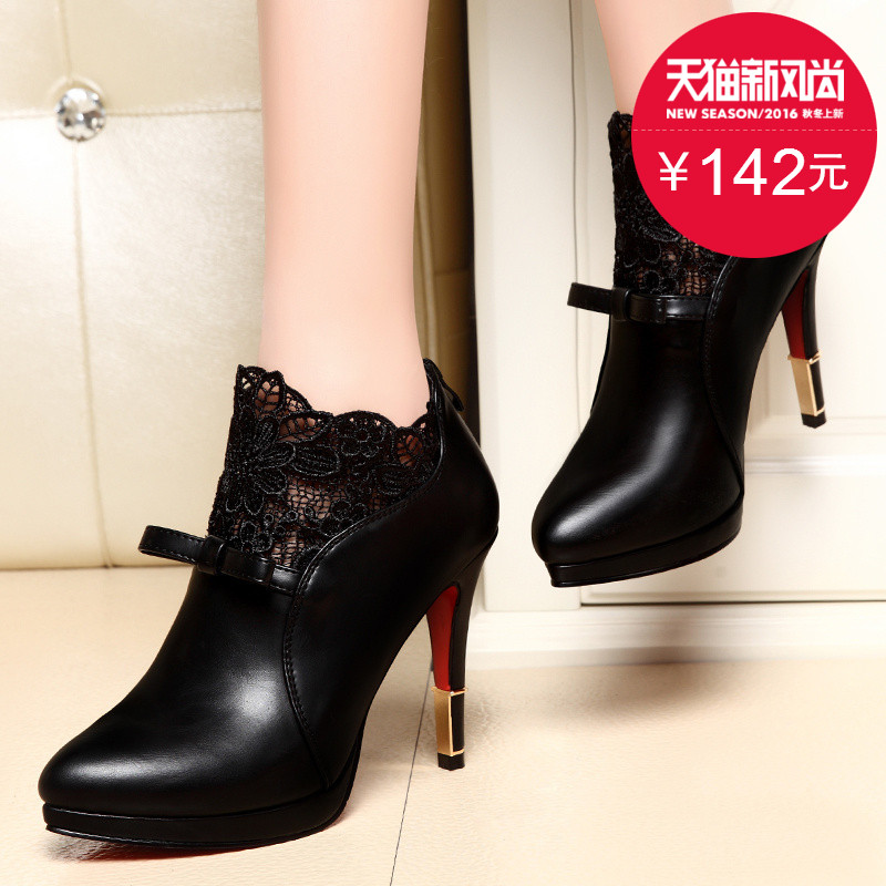 Shield fox 2016 spring shoes women high heels fine with waterproof european and american fashion lace deep mouth pointed shoes wedding shoes