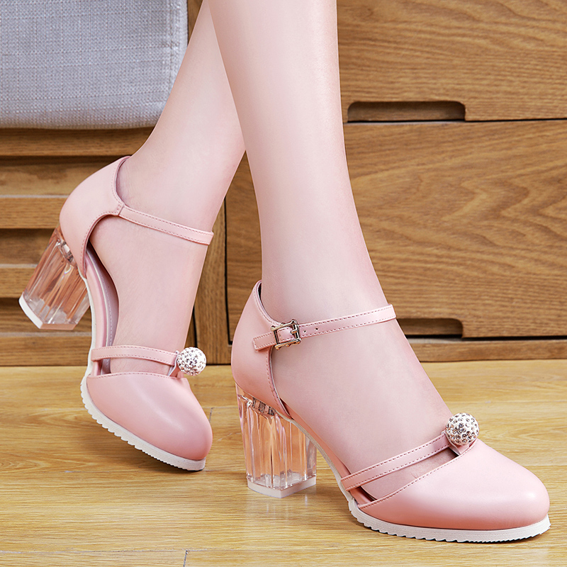 Shield shield fox fox 2016 spring and summer new transparent high heels rough with waterproof sandals comfortable casual shoes