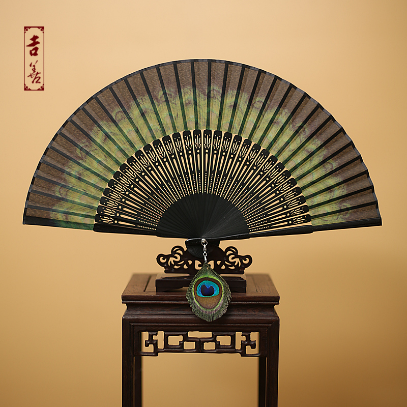 Shin ji fan 6 inch peacock national wind silk folding fan female fan folding fan chinese wind gift fan abroad