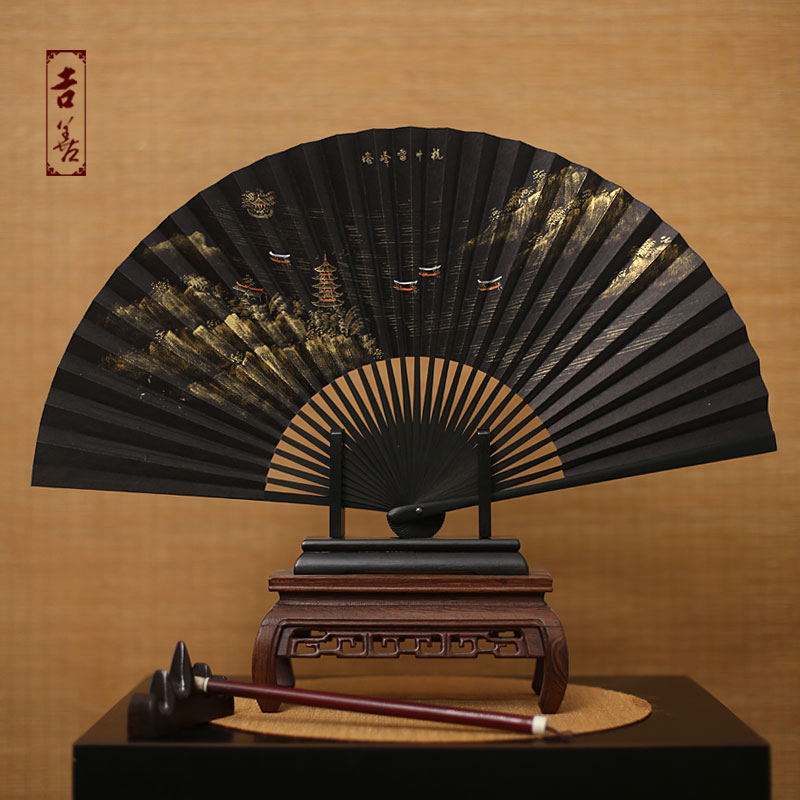 Shin ji fan 8 inch hangchow black mulberry paper men fan fan painted paper fan folding fan male fan gift fan abroad