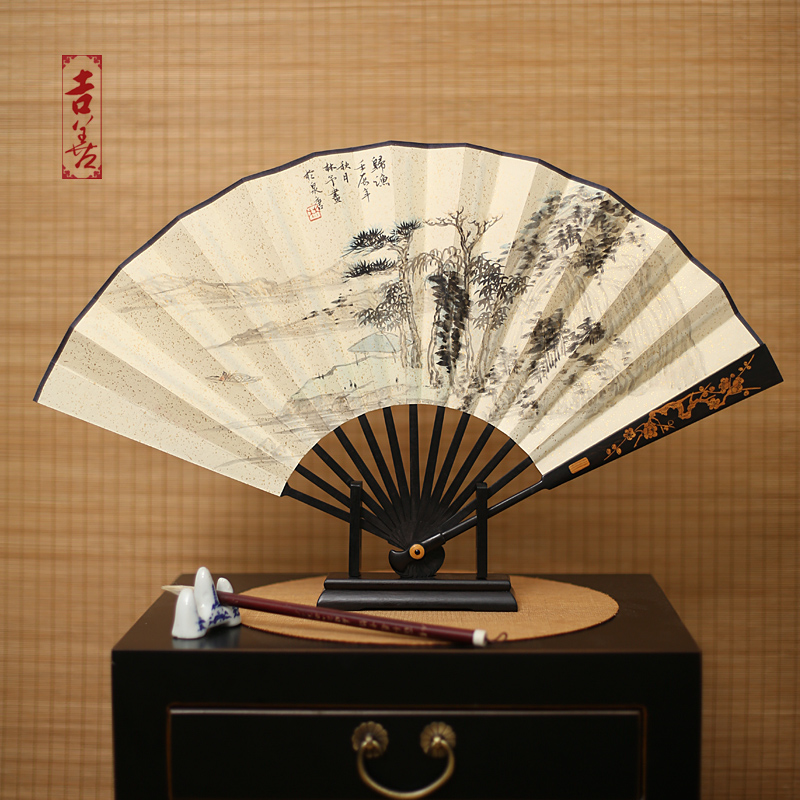 Shin ji painted folding fan 10 inch ebony ebony man playing male fan fan fan chinese style folding paper fan gift fan abroad